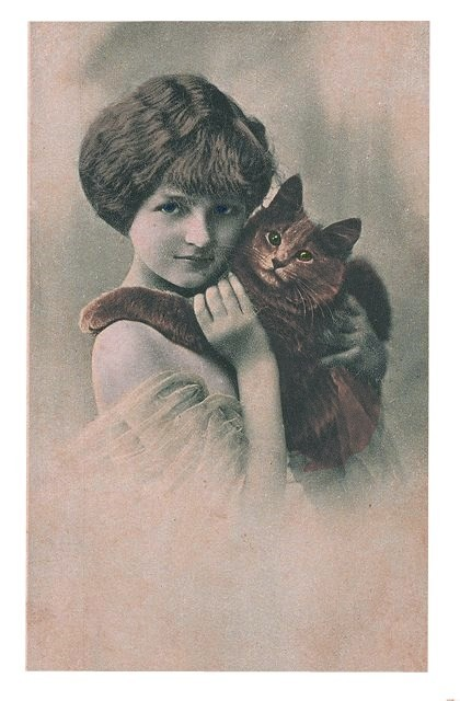1910 Lady and Cat clolorized