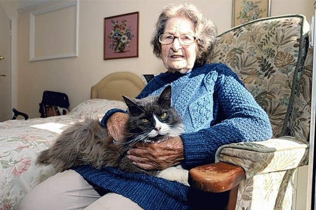 Nancy Cowen and Cleo the Cat